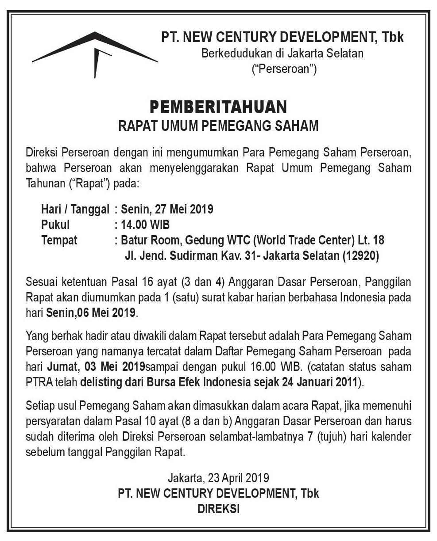 Iklan Pemberitahuan RUPST  18 Mei 2018